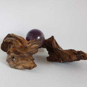 Kugelhalter Eiche mit Amethystkugel 4cm (761)