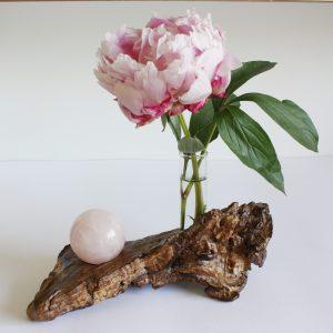 Vase Eiche mit Rosenquarzkugel 4cm (905)